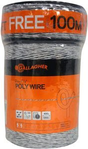 #1. Gallagher 116 Diameter Electric Fence Polywire 1312 Ft