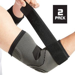 10. Elbow Brace with Strap for Tendonitis 2 Pack