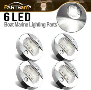 3. Partsam 3 Inch Round Chrome Marine LED light, 4 Pcs