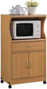 6. Hodedah Microwave Cart, Beech