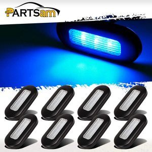 7. Partsam 12V Blue LED Oblong Courtesy Light, Pack of 8