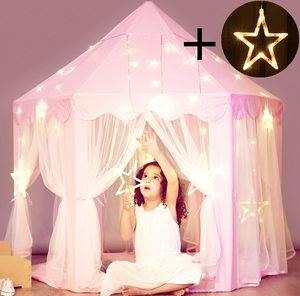 7. Princess Castle Tent with Large Star Lights String
