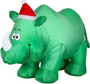 8. Gemmy 3.5ft Christmas Rhino with Santa Hat Inflatable Airblown