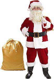 #3 ADOMI Santa Suit Plush 10pc. Adult Costume