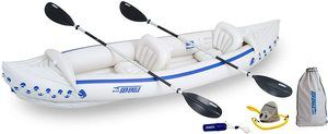 #5. Sea Eagle 370 Deluxe Portable 3 Person Inflatable Sport Kayak