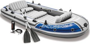 #7. Intex Excursion 5, Inflatable Boat 5-Person Set w
