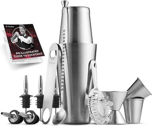 1. FineDine Premium Cocktail Shaker Bar Tools Set (14 pieces)