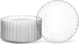 1. Oasis Creations Premium Hard Clear Plastic Plates Set