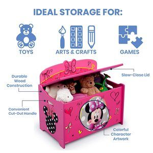 2. Delta Children Deluxe Toy Box, Disney Minnie Mouse
