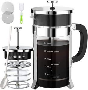 2. French Press Coffee And Tea Maker, 34 oz, Silver