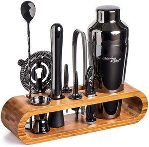 3. Mixology Bartender Kit with Stylish Bamboo Stand, 10 Pieces