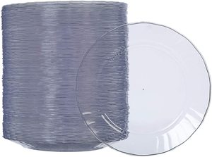 4. AmazonBasics Clear Plastic Plates, Disposable, 100-Pack