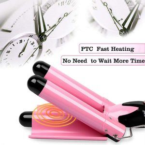 6. 3 Barrel Curling Iron Wand, Heats Up Quickly (Pink)
