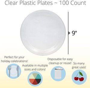6. Exquisite 9 Inch. Clear plastic plates - 100 Count