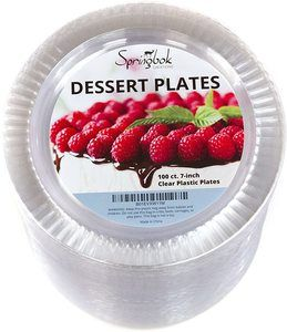 7. 100 Disposable Clear Plastic Dessert Plates (7-inch)