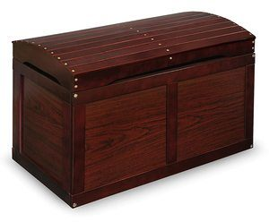 7. Hardwood Safety Top Toy Storage Chest