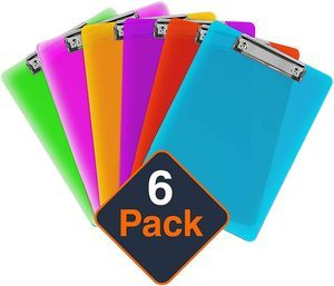 7. Plastic Clipboards 12.5 x 9 Inch Holds 100 Sheets (Set of 6)