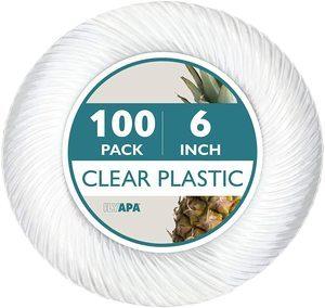 8. 100 Premium Clear Plastic Plates -6 Inch