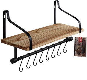8. TJ.MOREE Wall Mounted Coffee Shelf with 8 Hooks