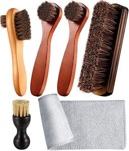 8. Youngjoy 6 Pieces Horsehair Shine Shoes Brush kit