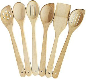 8.ECOSALL Healthy Cooking Utensils Set - 6 Wooden Spoons