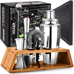 9. Bartender Mixing Tool Kit with Elegant Wooden Stand