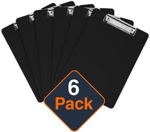 9. Plastic Clipboards (Set of 6) Holds 100 Sheets