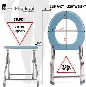 4. Green Elephant Folding Commode Portable Toilet Seat