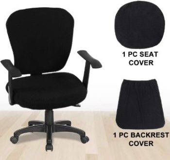 1. CAVEEN Stretchable Office Chair Covers (Black)