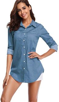#1. Fuinloth Women's Chambray Button-Down Shirt