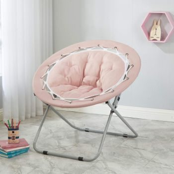 1. Urban Shop Micromink Web Saucer Chair, Blush