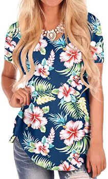 #2. NIASHOT Women's Short Sleeve Hawaiian Shirt