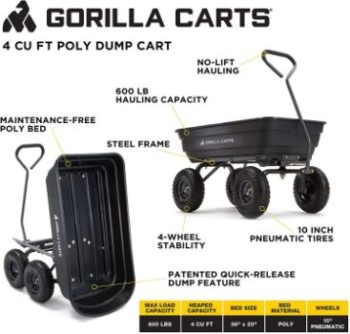 5. Gorilla Carts GOR4PS Poly Garden Dump Cart