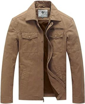 5. WenVen Men's Casual Canvas Cotton Military Lapel Jacket