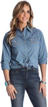 #6. Wrangler Women's Long Sleeve Work Shirt
