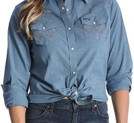 #6. Wrangler Women's Long Sleeve Work Shirt