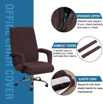 7. Jacquard Computer Office Chair Covers (Large, Chocolate)