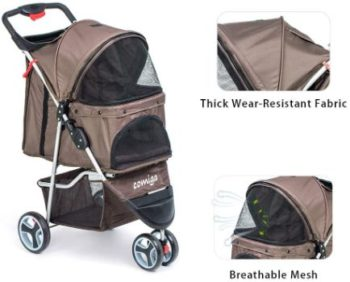 7. comiga 3-Wheel Foldable Cat Stroller
