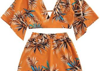 #8. SweetyRocks Women's 2 Piece Hawaiian Sleeve and Shorts Set