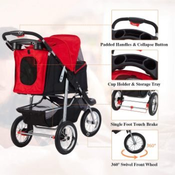8. VIAGDO Premium 3-Wheel Cat Stroller