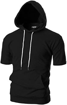 9. OHOO Men's Slim Fit Short Sleeve Lightweight Hoodie