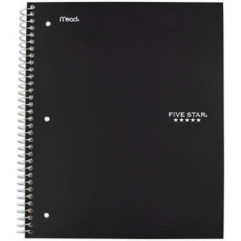 1. Five Star Spiral College Ruled Notebook