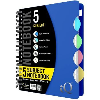 10. iScholar 5 Subject Poly Cover Double Wire Notebook