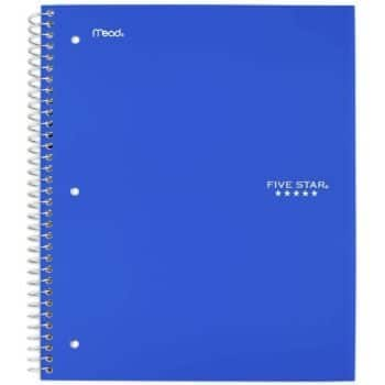 5. Five Star Spiral Notebook, 5 Subject, Cobalt Blue