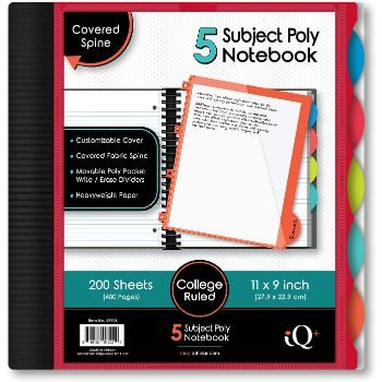 7. iScholar iQ 5-Subject Poly Cover Wirebound Notebook