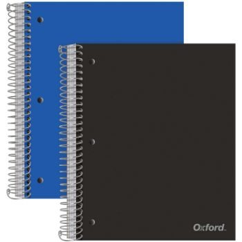 8. Oxford Spiral Notebooks, 5 Subject, 2 per Pack