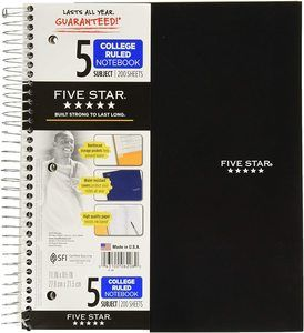 2. Five Star 5-Subject Notebooks
