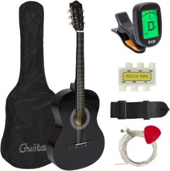 2. Meda Beginner Acoustic Guitar Starter Kit, 38in
