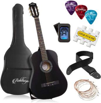 5. Ashthorpe 38-inch Beginner Acoustic Guitar Package (Black)