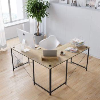 5. Bestier L-Shaped Computer Desk (Oak)